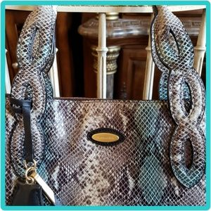 TAHARI Leather Tote, Snakeskin Pattern